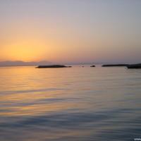 Sonnenuntergang auf der Rückfahrt nach Hurghada, September 2002
