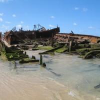 Das Heck ist fast vollkommen im Sand versunken, September 2006
