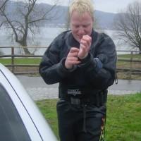 Alex beim Anrödeln für Lädine-Tauchgang, März 2004
