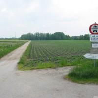 Hier muss geparkt werden, allerdings darf zum ent- und beladen an den Weiher gefahren werden, Mai 2004