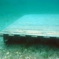 Im See verteilt gibt es mehrere Übungsplattformen, Mai 2004
